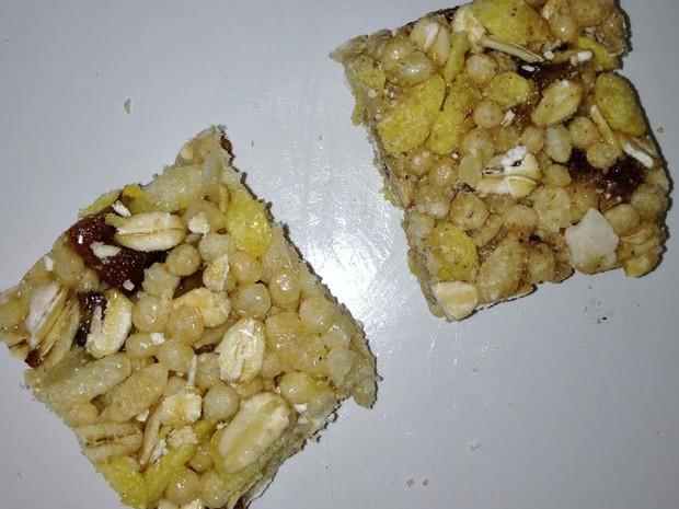 Barra de cereal de banana verde e casatanha-do-Brasil criadas por pesquisadora no Acre (Foto: Embrapa/ Divulgação)