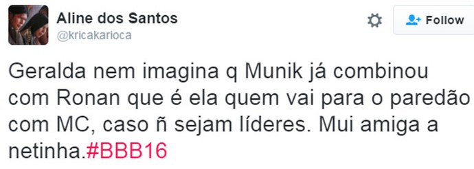 Tweet - Gegê X Munik (Foto: Reprodução da Internet)