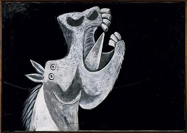 Cabeça de cavalo 1937 Esboço feito para o painel Guernica, a obra mais celebrada do artista, na qual ele desvela os horrores do bombardeio alemão da pequena cidade no norte da Espanha (Foto: Coleção do Museo Nacional Centro de Arte Reina Sofía, Madrid)