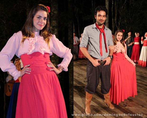 Monique virou uma verdadeira prenda e Sergio Marone encarnou o peão gaúcho (Foto: Domingão do Faustão / TV Globo)
