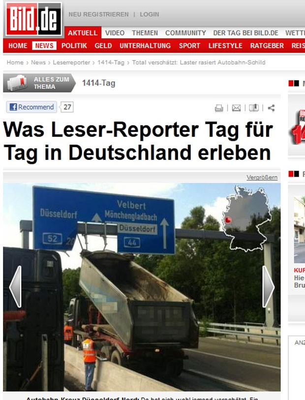 Motorista não baixou a caçamba e danificou placa de sinalização de rodovia. (Foto: Reprodução/Bild)