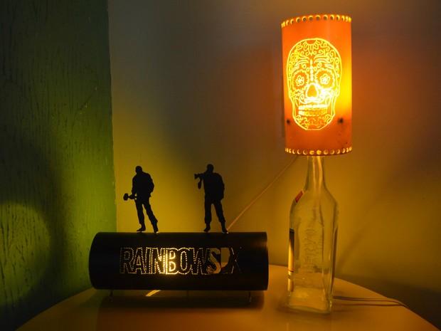 luminárias personalizadas, PVC, Amapá, Macapá,  (Foto: Fabiana Figueiredo/G1)