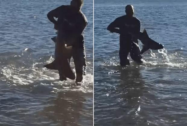 Australiano se arriscou, entrou no mar e pegou pequeno tubarão com as próprias mãos (Foto: Reprodução/Reddit/Prestyboy)