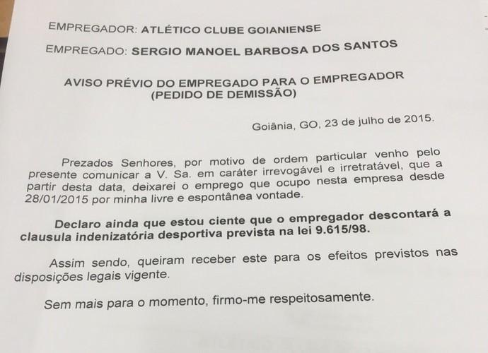 Sérgio Manoel rompe com o Atlético-GO ciente de que não receberá as verbas rescisórias (Foto: Divulgação)