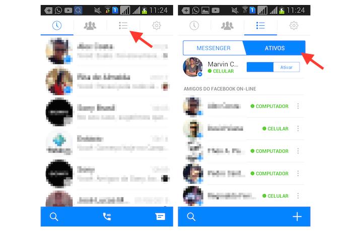 Visualizando contatos online no Facebook Messenger para Android (Foto: Reprodução/Marvin Costa)