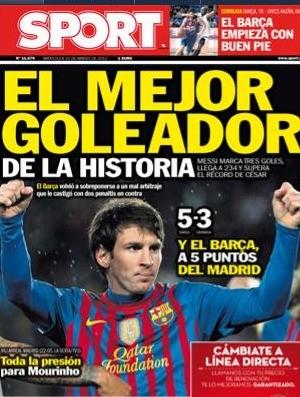 Jornal Sport, sobre recorde de Messi (Foto: Reprodução / Sport)
