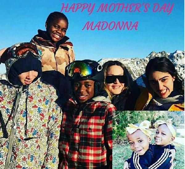 A montagem que Madonna havia feito com os seis filhos reunidos para celebrar o dia das mães (Foto: Instagram)