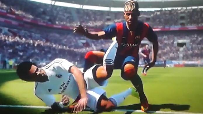 Neymar protagoniza um engraçado bug na versão demo de PES 2015 (Foto: Reprodução: YouTube)