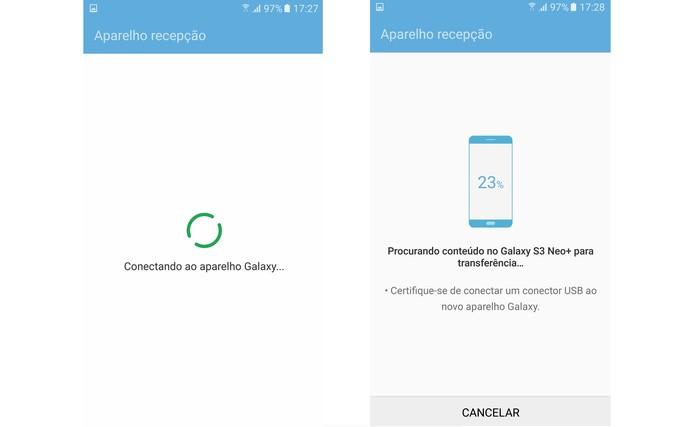 Aguarde o aplicativo encontrar os arquivos no celular antigo (Foto: Reprodução/Isabela Giantomaso)