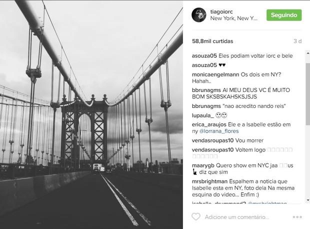 Tiago Iorc faz post em Nova York e fãs pedem encontro (Foto: Reprodução / Instagram)