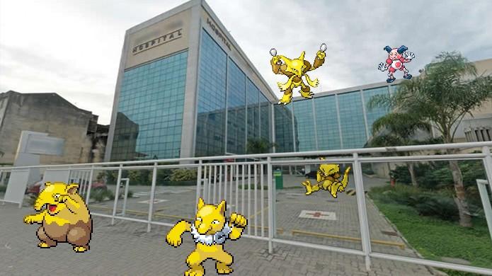 Por algum motivo os pokémons Psíquicos gostam de hospitais em Pokémon Go (Foto: Reprodução/Rafael Monteiro)