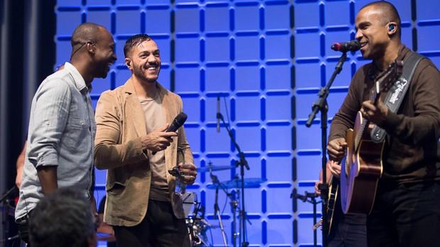 ENSAIO: Thiaguinho, Belo e Alexandre Pires (Foto: Andr Bittencourt)