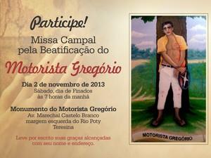 Cartaz do convite para a missa campal de beatificação (Foto: Gilcilene Araújo/G1)