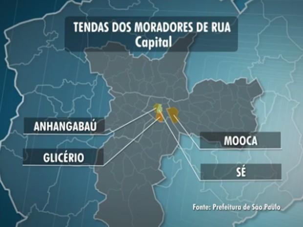 Tendas serão montadas na região Central da cidade  (Foto: Reprodução TV Globo)