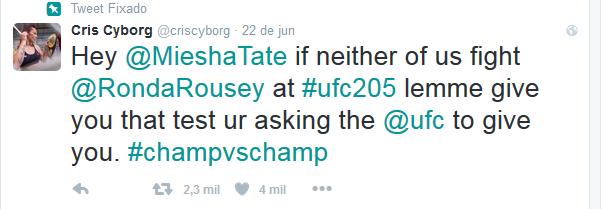 BLOG: Cyborg desafia Miesha Tate e sugere luta em Nova York, no UFC 205