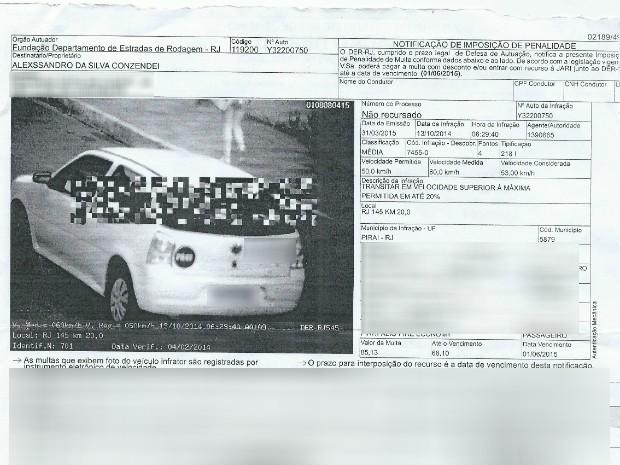 Infração foi cometida no mês de outubro do ano passado em Piraí (RJ) (Foto: Arquivo Pessoal)