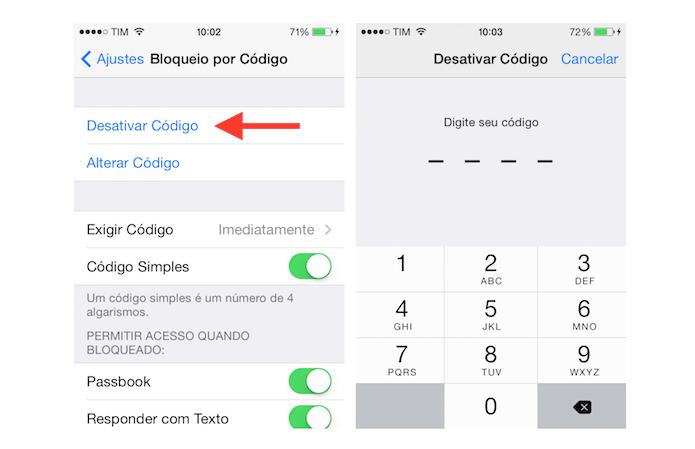 Desativando o código de bloqueio de quatro dígitos do iPhone (Foto: Reprodução/Marvin Costa)