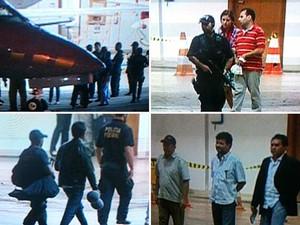Imagens da chegada a Brasília dos presos da Operação Mãos Limpas, da Polícia Federal (Foto: TVGlobo/Edson Cordeiro/Edvaldo Lachu/André Scoralick)