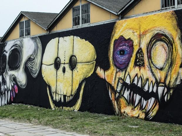 Estúdio Hybrido também pintou o muro da Mauá (Foto: Beta Iribarrem/Divulgação)