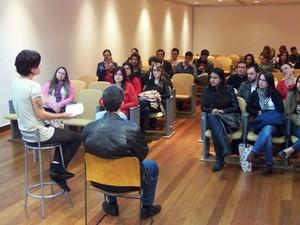 Integrantes da página em debate no IMS em Poços de Caldas (MG).  (Foto: Ricardo Senegal)