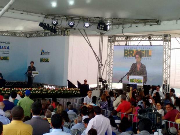 Dilma participa de entrega de unidades do Minha Casa Minha Vida (Foto: Maiana Belo/G1)