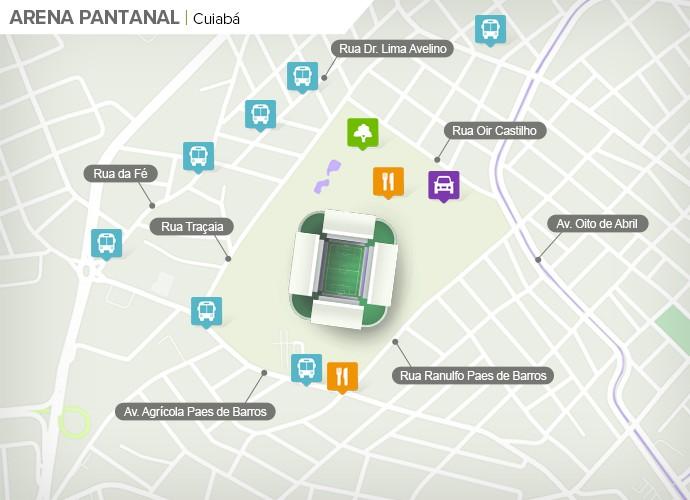 Mapa de acesso às ruas da Arena Pantanal (Foto: Google Maps / Infografia GloboEsporte.com)
