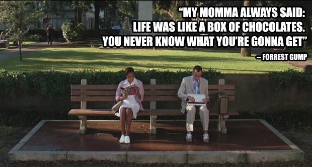 """""""Minha mãe sempre dizia: a vida é como uma caixa de bombons. Você nunca sabe o que vai encontrar"""" - Forrest Gump – O Contador de Histórias (Foto: Divulgação)"""