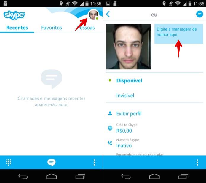 Acessando as informações do perfil no Skype (Foto: Reprodução/Helito Bijora)