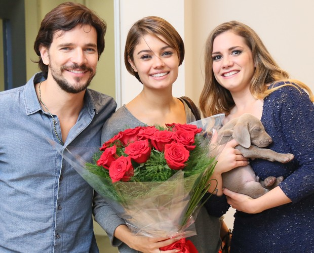 Sophie posa com Daniel Oliveira e a amiga Lena Soto (Foto: Isabella Pinheiro / Gshow)