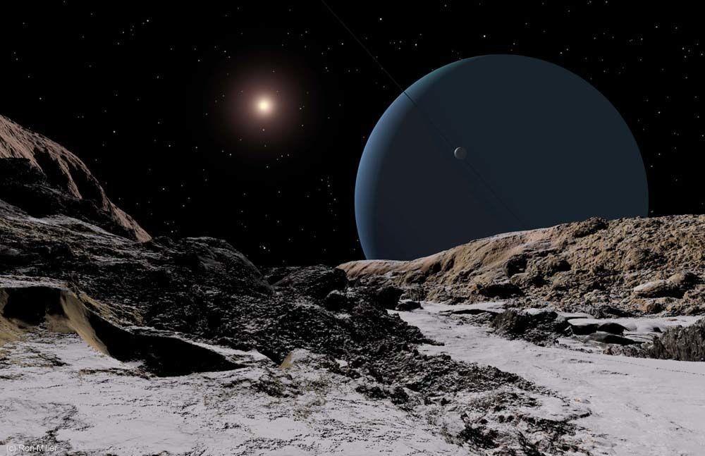 Urano e o Sol vistos a partir da superfície da lua Ariel, a 2,88 bilhões de quilômetros da estrela (Foto: Ron Miller | Divulgação)