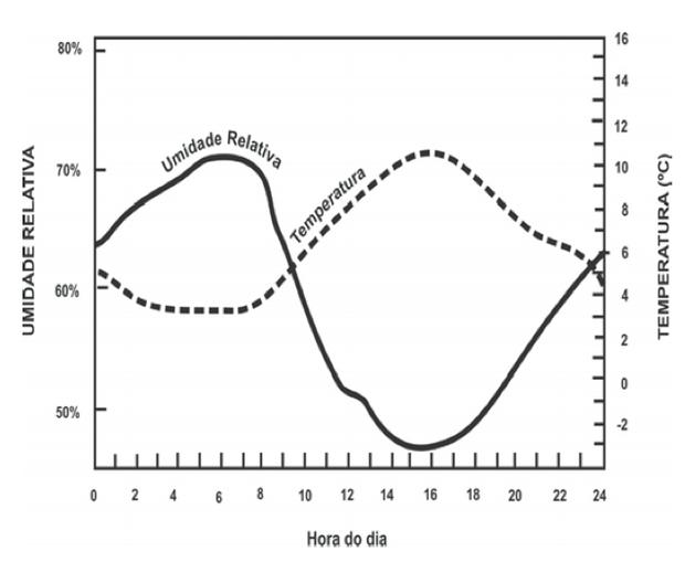 Gráfico com umidade relativa do ar e temperatura (Foto: Reprodução/ENEM)