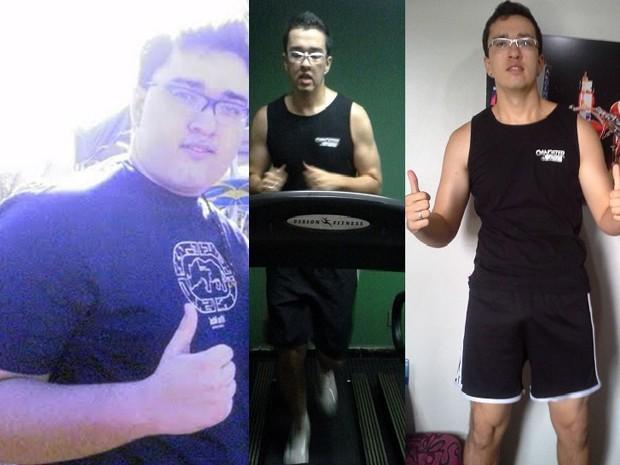 À esq., uma das raras fotos de Silom mais gordo, aos 148 kg. Ao lado, ele correndo na esteira e agora, aos 96 kg (Foto: Arquivo pessoal)