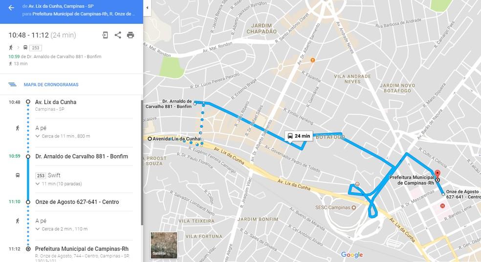 Ferramenta indica ponto de ônibus mais próximo para o usuário chegar ao local desejado, além do trajeto completo da linha (Foto: Reprodução Google Maps)