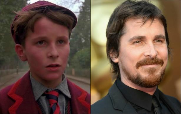 Christian Bale estava com 13 anos quando atuou em 'Império do Sol' (1987). Atualmente tem 40 anos e seu segundo filho acaba de nascer. (Foto: Reprodução e Getty Images)