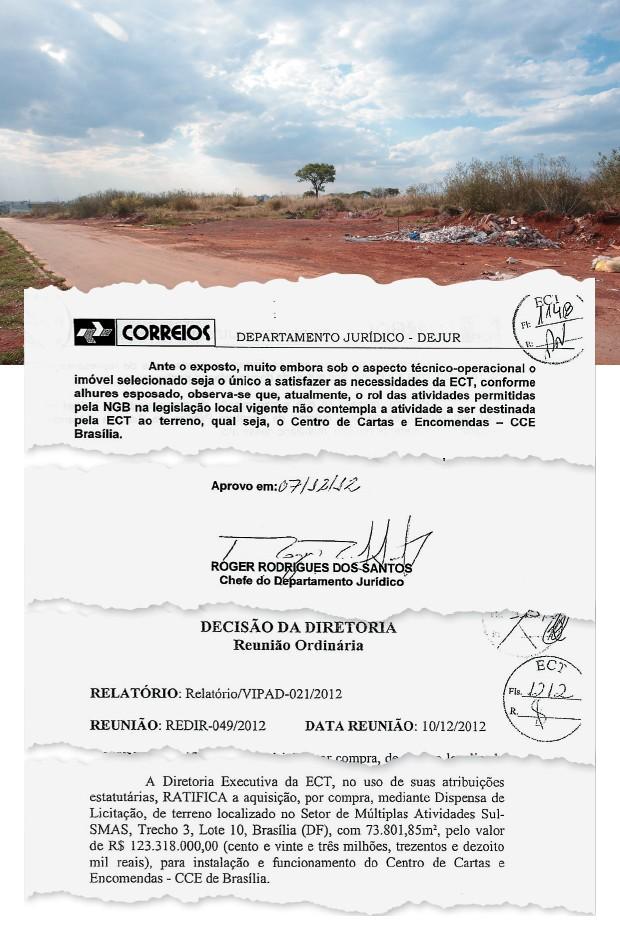 """""""GATO POR LEBRE"""" Área comprada pelos Correios em Brasília.  Um parecer jurídico dos Correios (no destaque, acima) diz que a lei não permitia usar o local para um empreendimento comercial. Mesmo assim, os Correios decidiram comprar o terreno, pagando R$ 123 milhões à vista (no destaque, abaixo) (Foto: Bruno Spada/Tripé Fotografia/ÉPOCA)"""