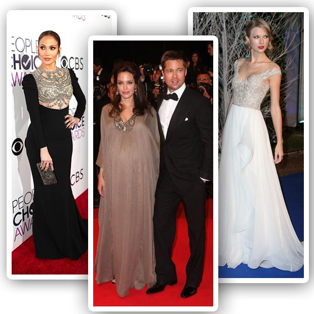 Jennifer Lopez, Angelina Jolie (com Brad Pitt) e Taylor Swift vestem Reem Acra (Foto: Getty Images)