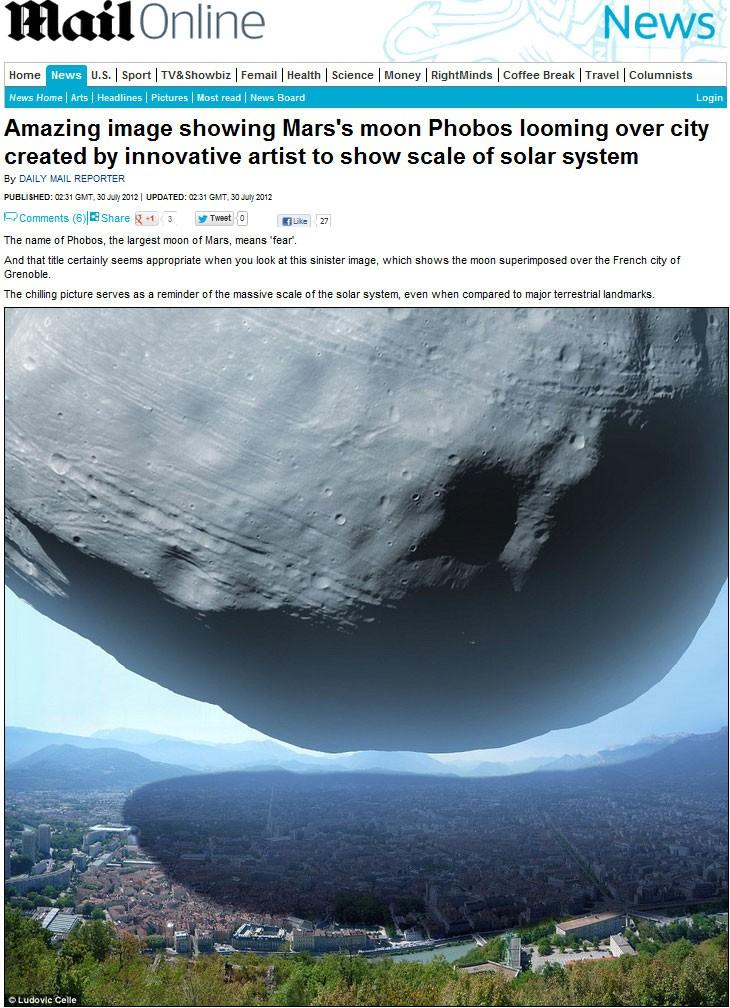 Na impressão artística, a lua de Marte batizada de Phobos é colocada sobre a cidade Grenade, na França.  (Foto: Reprodução/Daily Mail)