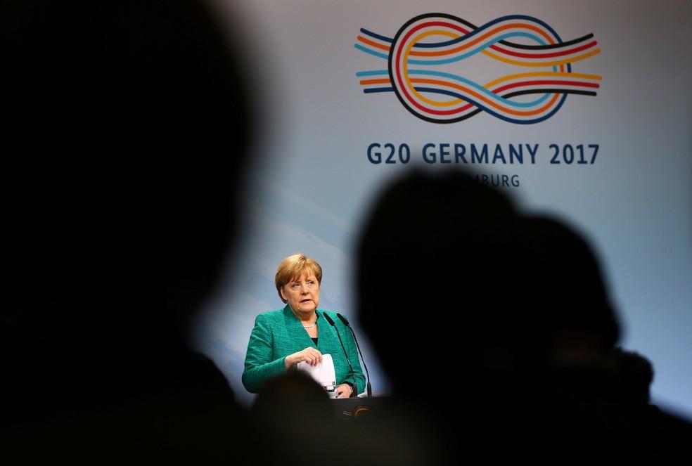 Angela Merkel faz pronunciamento e dá entrevista durante Cúpula do G20  (Foto: REUTERS/Wolfgang Rattay)