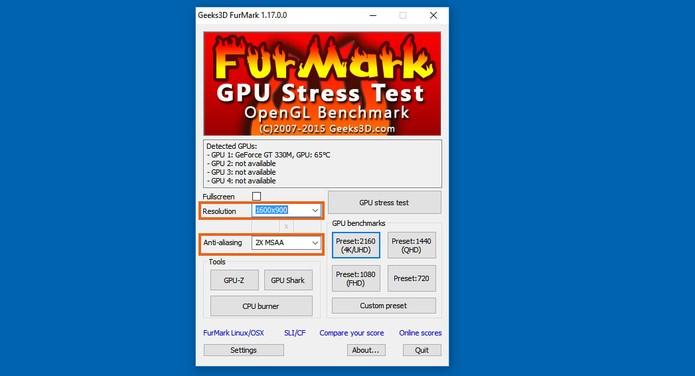 Adicione as configurações do seu monitor no FurMark (Foto: Reprodução/Barbara Mannara)