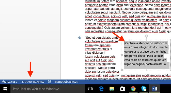 Conferindo a contagem de palavras em uma caixa de texto do Microsoft Word (Foto: Reprodução/Marvin Costa)