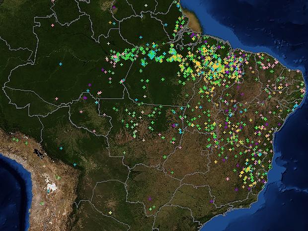 Mapa elaborado pelo Inpe mostra focos registrados nas últimas 48h (Foto: Inpe)