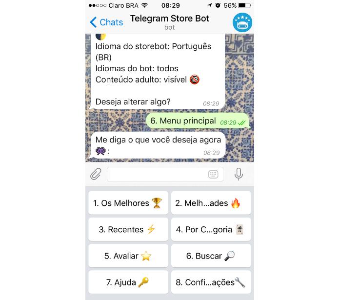 @StoreBot é um serviço que dá mais visibilidade à loja de perfis automáticos do Telegram (Foto: Reprodução/Daniel Ribeiro)