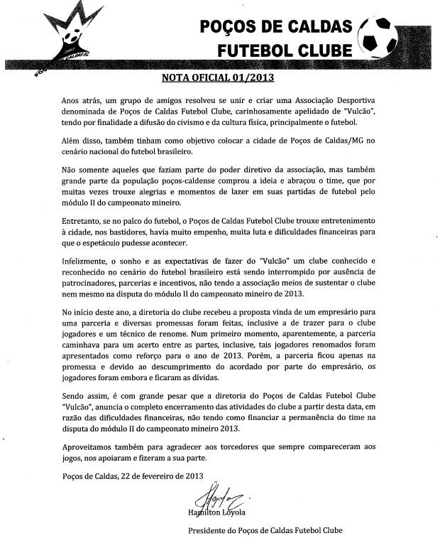 Diretoria comunica fim das atividades do Poços de Caldas. (Foto: Reprodução)