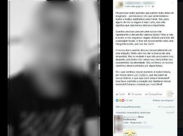 Escola onde ele estudou prestou homenagem nas redes sociais (Foto: Reprodução/Facebook)