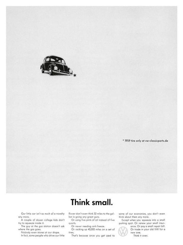 Campanha Think Small da Volkswagen nos Estados Unidos, durante a década de 1960 (Foto: Reprodução/Facebook)