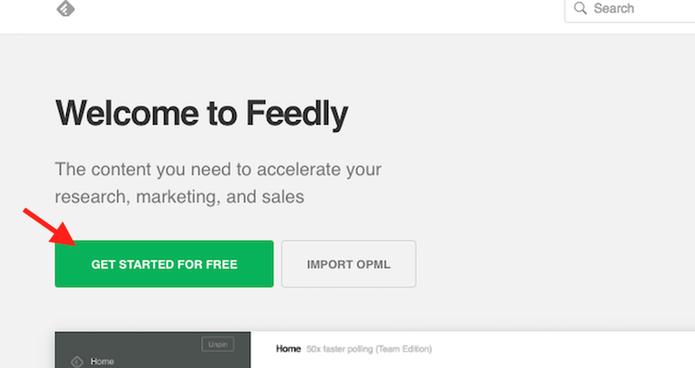 Inicie o uso de uma conta no Feedly (Foto: Reprodução/Marvin Costa)