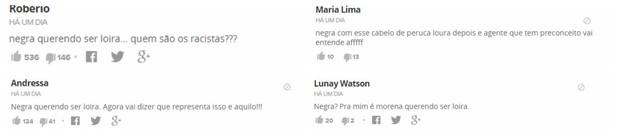 Comentários racistas contra Erika Canela (Foto: Reprodução/reprodução)