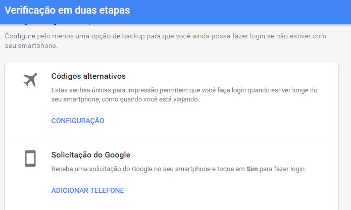 Sistema do Google antevê perda de acesso a dispositivo de verificação (Foto: Reprodução/Google)