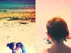 Carol Celico vai à praia com os filhos: 'Pedaço do céu'