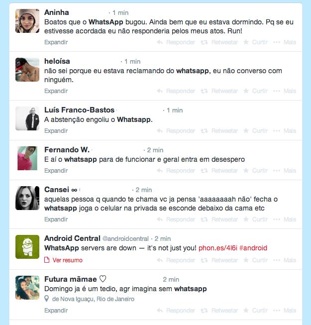 No Twitter, usuários brasileiros reclamam do WhatsApp fora do ar (Foto: Reprodução/Twitter)